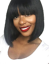 cheap -Human Hair Lace Front Wig Bob Short Bob style Brazilian Hair Silky Straight Black Wig 130% Density with Baby Hair Natural Hairline For Black Women 100% Hand Tied Black Women's Short Human Hair Lace