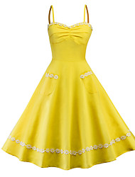cheap -Women's Party Daily Vintage Elegant Swing Dress - Solid Colored High Waist Strap Green Red Yellow L XL XXL / Sexy