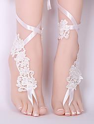 ราคาถูก -ลูกไม้ สายคล้องข้อเท้า Wedding Garter กับ เข็มกลัด แหวนนิ้วเท้า งานแต่งงาน / ปาร์ตี้