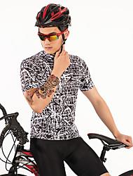 お買い得  -FirtySnow 男性用 半袖 サイクリングジャージー - ブラック / ホワイト 創造的 バイク ジャージー, 高通気性 速乾性 ポリエステル / 伸縮性あり