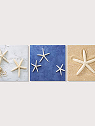 Недорогие -С картинкой Отпечатки на холсте - Пляж Фото Modern 3 панели Репродукции