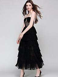 Недорогие -Жен. А-силуэт Платье - Однотонный, Кружева Средней длины