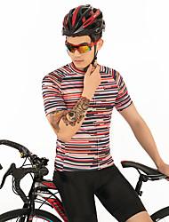 お買い得  -FirtySnow 男性用 半袖 サイクリングジャージー - 濃いピンク 縞柄 バイク ジャージー, 高通気性 速乾性 ポリエステル / 伸縮性あり