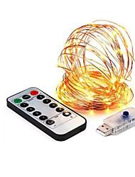 Недорогие -8 режим 33ft светодиодная строка 10 м 100led 5 В USB медный провод фея струнные огни крытый открытый рождественская свадьба декор
