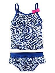 ราคาถูก -เด็ก เด็กผู้หญิง Sport รูปเรขาคณิต ฝ้าย / เส้นใยสังเคราะห์ ชุดว่ายน้ำ สีน้ำเงิน