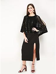 hesapli -Kadın's Büyük Bedenler Tatil Vintage Zarif Flare Kol İnce Kılıf Elbise - Solid, Dantel Bölünmüş Midi