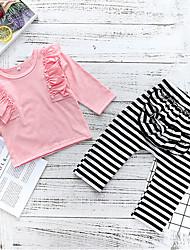 お買い得  -赤ちゃん 女の子 ストリートファッション 日常 ストライプ 長袖 レギュラー ポリエステル アンサンブル ピンク