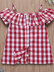 billige -Baby Jente Aktiv Ruter Kortermet Polyester Kjole Svart