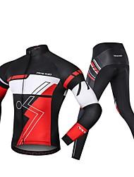 Χαμηλού Κόστους -Realtoo Μακρυμάνικο Φανέλα με κολάν για ποδηλασία - Μαύρο / Κόκκινο Ποδήλατο Spandex Κλασσικά / Μικροελαστικό
