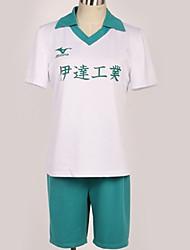 baratos -Inspirado por Haikyuu Fantasias Anime Fantasias de Cosplay Uniformes Escolares Cidade Blusa / Calções / Camiseta Para Homens / Mulheres