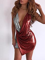 Недорогие -Жен. Классический / Уличный стиль Оболочка Платье - Контрастных цветов, Открытая спина Мини
