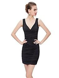 Недорогие -женское платье выше колена стройное труба / русалка глубокий v фиолетовый черный s m l xl