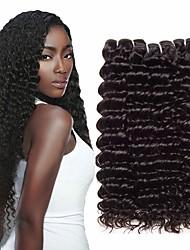 baratos -3 pacotes Cabelo Indiano Deep Curly Cabelo Humano Cabelo Bundle Extensões de Cabelo Natural Tecer 10-26 polegada Natural Tramas de cabelo humano Tecido Natural novo Extensões de cabelo humano Mulheres