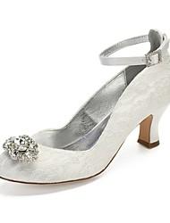 hesapli -Kadın's Ayakkabı Saten / Sentetikler İlkbahar yaz Tatlı Düğün Ayakkabıları Kıvrımlı Topuk Yuvarlak Uçlu Düğün / Parti ve Gece için Taşlı / Işıltılı Pullar / Toka Beyaz / Kristal