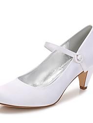 hesapli -Kadın's Ayakkabı Saten İlkbahar yaz Tatlı Düğün Ayakkabıları Külah Topuk Yuvarlak Uçlu Düğün / Parti ve Gece için Düğme Beyaz / Kristal