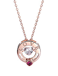 cheap -Women's Fuchsia AAA Cubic Zirconia Classic Pendant Necklace S925 Sterling Silver Artistic Initial Rose Gold 46 cm Necklace Jewelry 1pc For Wedding Engagement