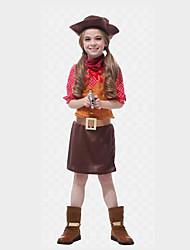 Недорогие -Westworld Вест Ковбой Ковбойские костюмы Девочки Детские Инвентарь Рождество Хэллоуин Карнавал Фестиваль / праздник Полиэстер Инвентарь Кофейный Горошек