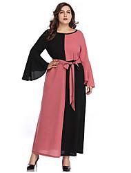 Недорогие -Жен. Оболочка Платье - Контрастных цветов, Бант V-образный вырез Макси / Сексуальные платья