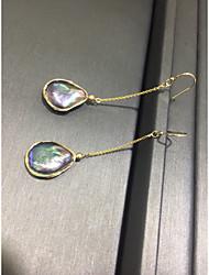 hesapli -1 çift Kadın's Örgülü Halka Küpeler - 18K Altın Kaplama Mücevher Koyu Bahriye Uyumluluk Tatil Dışarı Çıkma