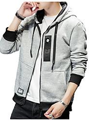 Недорогие -толстовка с капюшоном мужская с длинным рукавом - светло-серый с геометрическим рисунком