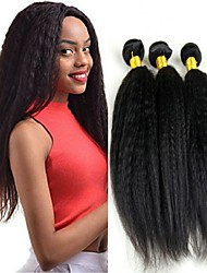cheap -3 Bundles Brazilian Hair Mongolian Hair Yaki Straight Human Hair Unprocessed Human Hair Gifts Cosplay Suits Headpiece 8-28 inch Natural Color Human Hair Weaves Soft Classic Lovely Human Hair