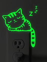 Недорогие -Наклейки для выключателя света - Светящиеся наклейки Животные Гостиная / Спальня / Ванная комната