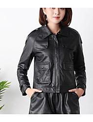 ราคาถูก -สำหรับผู้หญิง ทุกวัน ฤดูใบไม้ผลิ ปกติ แจ๊คเก็ต, สีพื้น คอกลม แขนยาว สังเคราะห์ / เส้นใยสังเคราะห์ สีดำ XL / XXL / XXXL