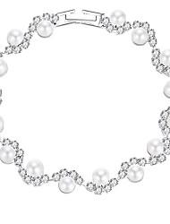 hesapli -Kadın's Tenis zinciri Bileklik - İmitasyon İnci Romantik, Tatlı, Moda Bilezikler Mücevher Gümüş Uyumluluk Düğün Parti