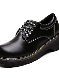 halpa -Naisten PU Kevät Vapaa-aika Oxford-kengät Matala korko Musta / Ruskea