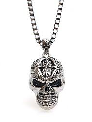 hesapli -Erkek Uzun Zincir Kolyeler - Kurukafa Vintage, Hiphop Gümüş 54 cm Kolyeler Mücevher 1pc Uyumluluk Halloween, Karnaval