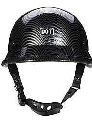 Недорогие -точка немецкий мотоцикл из углеродного волокна половина лица шлем вертолет крейсер байкер м / л / xl