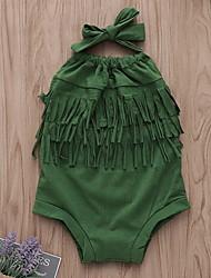 お買い得  -赤ちゃん 女の子 ストリートファッション 日常 ソリッド ノースリーブ ポリエステル ボディスーツ グリーン