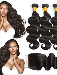 abordables -3 paquets avec fermeture Cheveux Brésiliens Ondulation naturelle Cheveux Vierges Naturel Costumes Cosplay Tissages de cheveux humains Bundle cheveux 8-20 pouce Couleur naturelle Tissages de cheveux