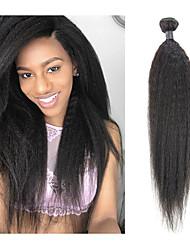 billige -1 pakke Brasiliansk hår Kinky Glatt Remy Menneskehår Hairextensions med menneskehår 10-26 tommers Naturlig Hårvever med menneskehår Beste kvalitet Ny ankomst Hot Salg Hairextensions med menneskehår