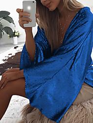 voordelige -Dames Standaard / Street chic T-shirt Effen Diepe V-hals blauw L / Sexy