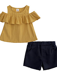ราคาถูก -เด็ก / Toddler เด็กผู้หญิง Street Chic ทุกวัน / ไปเที่ยว สีพื้น เสื้อไม่มีแขน ฝ้าย / เส้นใยสังเคราะห์ ชุดเสื้อผ้า สีเหลือง