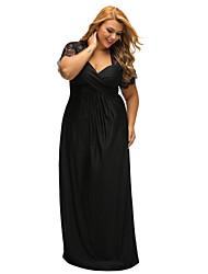 Χαμηλού Κόστους -Γυναικεία Πάρτι Βασικό Πολύ στενό Little Black Φόρεμα - Μονόχρωμο, Δαντέλα Μακρύ Ψηλή Μέση Βαθύ V / Sexy
