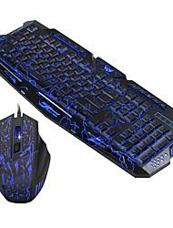 Недорогие -HXSJ J60 USB Проводной Мышь Клавиатура Комбо Очаровательный / 3D в мультяшном стиле / Cool Управление клавиатурой Светящийся Gaming Mouse / Управление мышью 5500 dpi