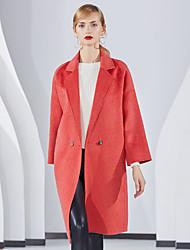 Недорогие -Жен. Повседневные Классический Зима Длинная Пальто, Однотонный Отложной Длинный рукав Шерсть Красный / Лиловый M / L / XL