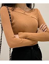 olcso -női ázsiai méretű vékony póló - tömör színű v nyak