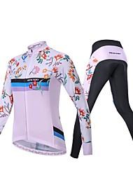 Χαμηλού Κόστους -Realtoo Μακρυμάνικο Φανέλα με κολάν για ποδηλασία - Ροζ Ποδήλατο Αναπνέει Spandex Κλασσικά / Μικροελαστικό