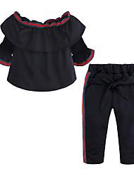 お買い得  -子供 / 幼児 女の子 ストリートファッション 日常 / お出かけ ソリッド ノースリーブ コットン / ポリエステル アンサンブル ブラック