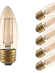 hesapli -GMY® 6pcs 2 W 160 lm E26 / E27 LED Filaman Ampuller B10 2 LED Boncuklar COB Dekorotif Amber 120 V