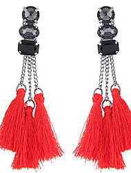 hesapli -Kadın's Püskül Damla Küpeler - Reçine Basit, Avrupa, moda Mücevher Siyah / Kırmzı Uyumluluk Parti Günlük / 1 çift