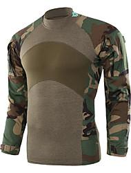 저렴한 -Esdy 남성용 긴 소매 하이킹 T-셔츠 집 밖의 가을 봄 방풍 통기성 착용 가능한 땀 흡수 기능성 소재 면 면 혼방 티셔츠 아미 그린 카모플라쥬 카키 야외운동