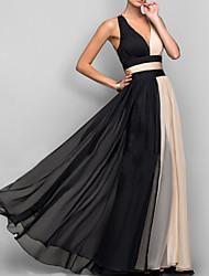 Недорогие -Жен. Для вечеринок Секси Элегантный стиль С летящей юбкой Платье - Контрастных цветов, Открытая спина Глубокий V-образный вырез Макси / Сексуальные платья