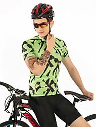 お買い得  -FirtySnow 男性用 半袖 サイクリングジャージー - 緑 / ブラック ゼブラ柄 バイク ジャージー, 高通気性 速乾性 ポリエステル / 伸縮性あり
