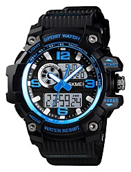 Недорогие -SKMEI Муж. Спортивные часы Армейские часы электронные часы Цифровой силиконовый Черный / Коричневый / Зеленый 50 m Будильник Секундомер С тремя часовыми поясами Аналого-цифровые На каждый день Мода -