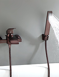 Χαμηλού Κόστους -Βρύση Μπανιέρας / Βρύσες Μπανιέρας - Πεπαλαιωμένο Λαδωμένο Μπρούντζινο Επιτοίχιες Κεραμική Βαλβίδα Bath Shower Mixer Taps