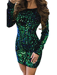 cheap -Women's Party Daily Basic Sheath Dress - Solid Colored Spring Gold Green Red L XL XXL / Sexy